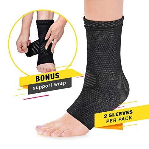 Modetro Sports Ankle Brace Compression Support Sleeve w/Free Ankle Strap-Achilles Tendon Support,Ankle Support for Ligament Damage