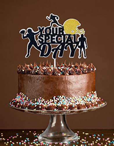 Your Special Day Cake Topper, Birthday Cake Topper, Celebration Congratulation Special Day Party Cake Decoration, American FootBall Topper with Premium Glitter and Food Safe Acrylic Stick