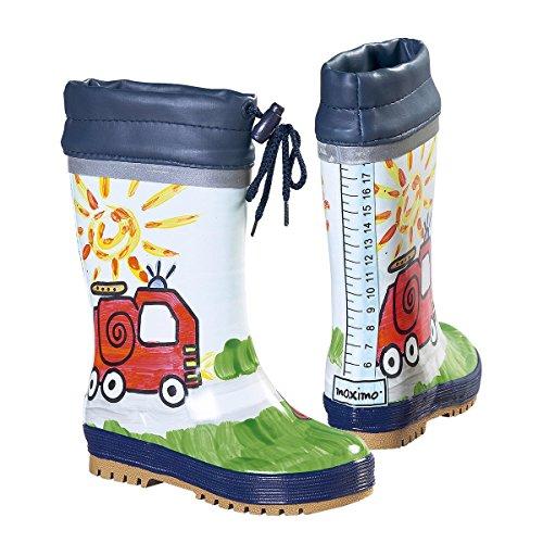 maximo Gummistiefel Feuerwehr - Regenstiefel mit griffiger Profilsohle, wasserfester Beschichtung & Fell-Futter - Feuerwehr-Motiv - aus Naturgummi