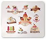Ice Cream Mouse Pad, Different Vintage Emblems Set Best Choice Desserts Frozen Yogurt Gaming Mousepad Office Mouse Mat
