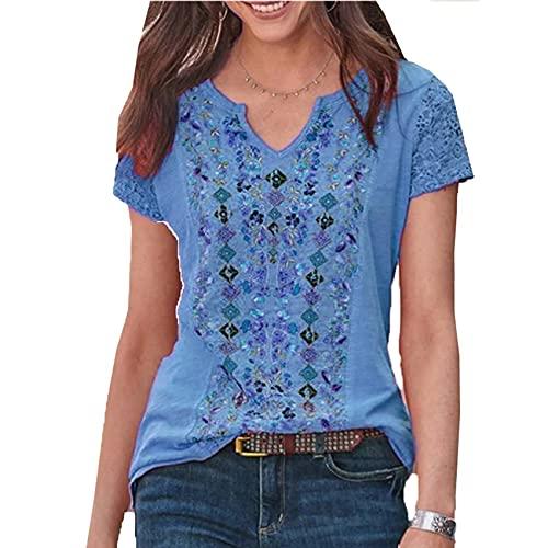 T-Shirt A Maniche Corte per Donna con Scollo A V Stampato Moda retrò Casual Stile Semplice Simple