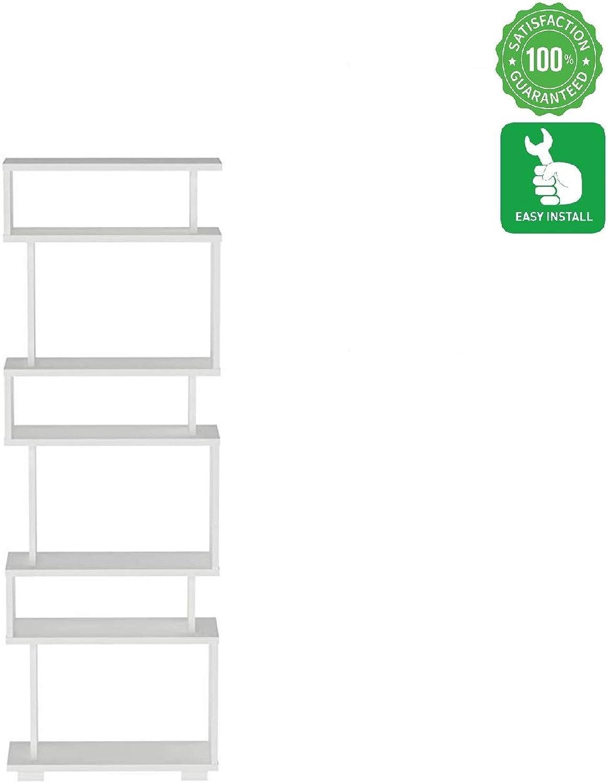 Evomax Modern Design Bookcase and Book Shelve 5 & 3 Shelf- Wooden Bookshelve for Small Spaces White Bookcase
