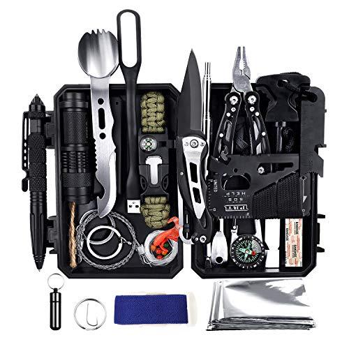 YEVHEV Outdoor Survival Kit 60 in 1,Multifunktional Outdoor Kit mit klappmesser,Erste-Hilfe-Kit,Taschelampe für Outdoor-Aktivitäten