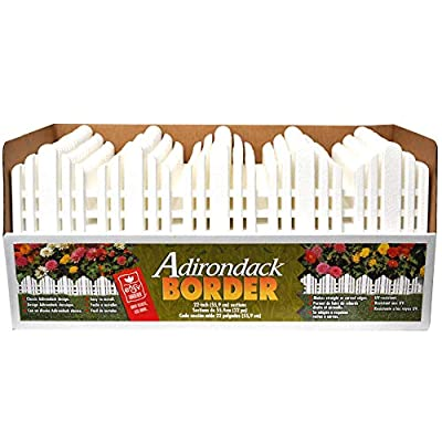 Decorative Landscape Edging Adirondack Border (No Dig Edging) White 22 Inch x 6 Inch Sections, 18 Sections Pack (33 Feet)