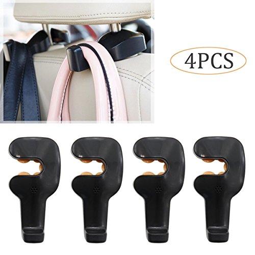 Xcellent Global Crochet à suspendre au support de repose-tête du siège-arrière de voiture (set de 4) Noir AT026