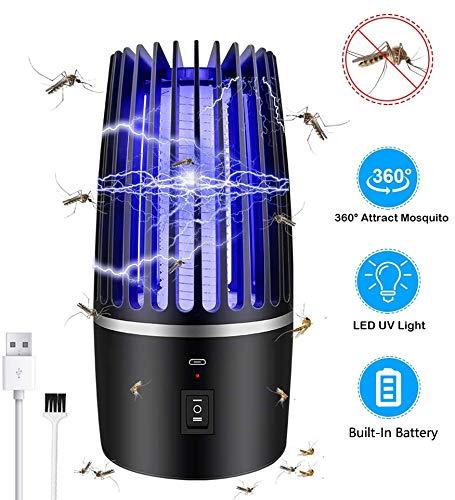 Lámpara Antimosquitos Bug Zapper, 2020 Nuevo 360 Grados LED Anti Mosquito Mosquitos Electrico USB Recargable Mosquito Lámpara con 2000mAh Batería y LED UV para Los Hogares, Patios