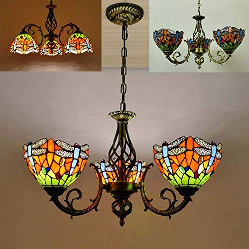 FCSFSF Tiffany Style Chandeliers, Stained Glass Pendant Hanging Lamps, Adjustable Vintage Decoration LED Ceiling Light for Living Room Dining Room Bedroom,E27,MAX40W,14