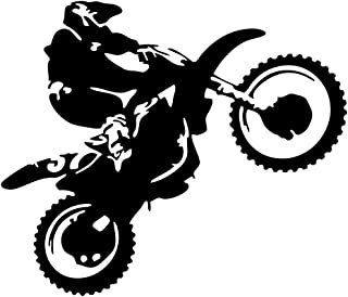 JUEKUI Motocross Vinyl Wall Decal Motorcycle Autobike Wall Art Home Decals for Living Room Bedroom Decoration Dirt Bike Sport Poster WS60 (Black, 57x67cm)