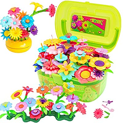 VERTOY Flower Garden Building Toy Set for 3, 4, 5, 6 Year Old Girls, STEM Educational Activity Toys and Girls Birthday Gift for Age 3+ yr Toddlers and Kids, 143 pcs