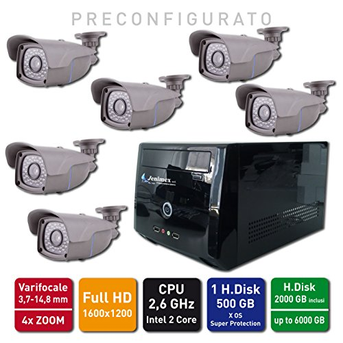 Jenimex Kit Videosorveglianza IP Ful HD POE (le telecamere non hanno bisogno di alimentazione) :NVR + 8 Telecamere IP FullHD 1600x1200 4 x Zoom ; inclusi nel prezzo preconfigurazione e supporto tecnico del produttore per 12 mesi