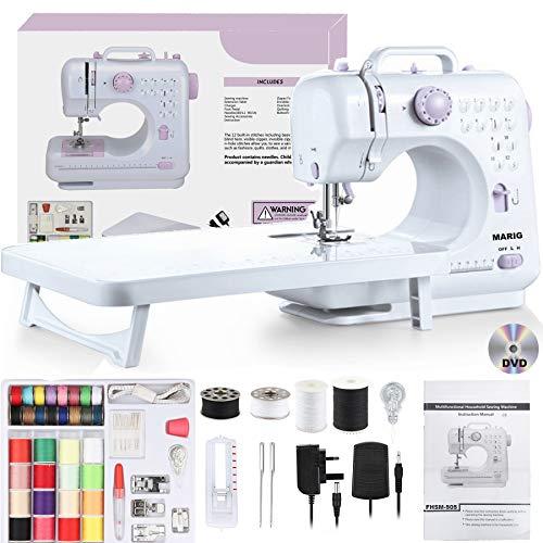 Máquina de coser para principiantes con DVD instructivo, manual en 5 idiomas, 52 piezas de accesorios, 12 puntadas incorporadas, doble hilo de 2 velocidades, MARIG FHSM-505 ,mesa de extensión incluida