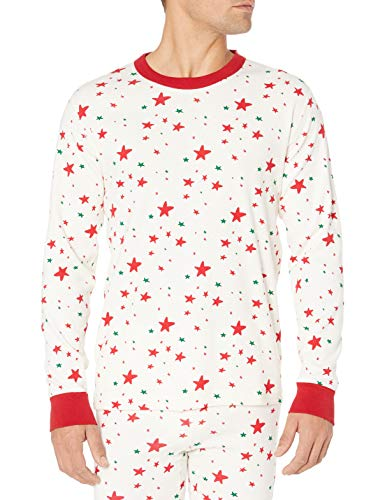 Moon and Back by Hanna Andersson Women's/Men's 100% Organic Cotton Family Matching Holiday Long Sleeve Pajama Top, Red/Green Star, Medium