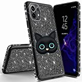 Miagon for Xiaomi Mi 11 Lite Glitter Case,3D Cute Cat Electroplating Bling Diamond Soft TPU Silicone Shockproof Shiny Sparkle Case Cover