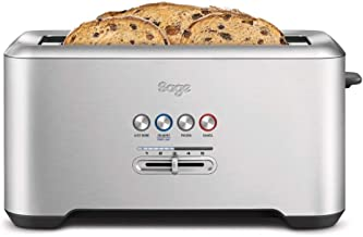 Sage Appliances STA730 the Bit More 4-Slice, Broodrooster, Brushed Stainless Steel, standaard
