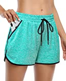 KORALHY Shorts for Women Yoga, Juniors Activewear Stretch Lounge Travel Summer Shorts Elastic Waist with External Drawcord Comfy Workout Shorts with Pockets Green Large
