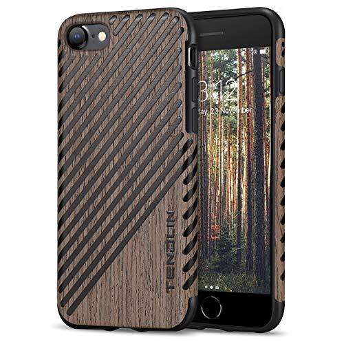 TENDLIN Kompatibel mit iPhone SE Hülle (2020) / iPhone 7 Hülle/iPhone 8 Hülle Holz und Leder Flexiblem TPU Silikon Hybrid Weiche Schutzhülle (Schwarz Palisander)
