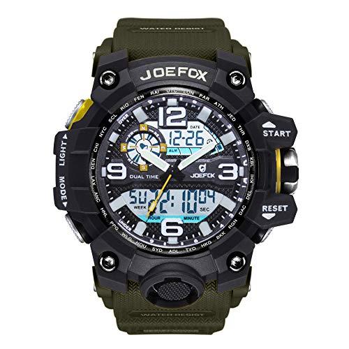 Digitale Armbanduhr für Herren, im sportlichen Militärstil, analog-digital, großes Zifferblatt, 56 mm großes Gesicht, wasserdicht, LED-Harz-Armband, grüne Uhr