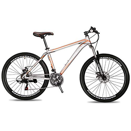 Max4out Mountain Bike 21 Speed 26 inch Shining SYS Double Disc Brake Suspension Fork Rear Suspension Anti-Slip Bikes Silver