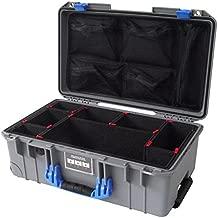 Silver & Blue Pelican 1535 Air case. with TrekPak Dividers & mesh lid Organizer.