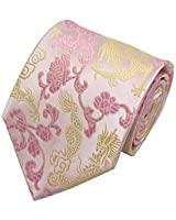 Men's Fashionable Vivid Gold Pink Ties Interview Trendy patterned Suit Neckties