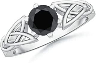 Weddingjewel Anillo de compromiso de plata de ley 925 con moissanita de corte redondo brillante de 0,75 quilates, color ne...