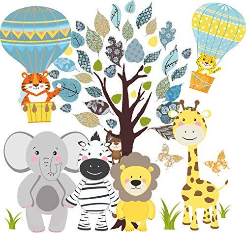 greenluup Decorazione da parete per la cameretta dei bambini con animali della giungla e albero colorato, divertente adesivo da parete per cameretta dei bambini (M8)