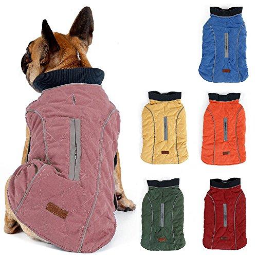 TFENG Reflektierend Hundejacke für Hunde, Hundemantel Warm gepolstert Puffer Weste Welpen Regenmantel mit Fleece (Rosa, Größe XS)