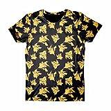 Pokèmon Pikachu - Allover Camiseta Negro S, 100% algodón, Corte Normal