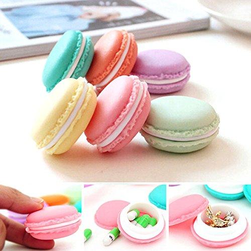 Lot de 6 mini boîtes de rangement Dealglad® - En forme de macaron - Pour bijoux (boucles d'oreilles, bagues) - Couleurs aléatoires