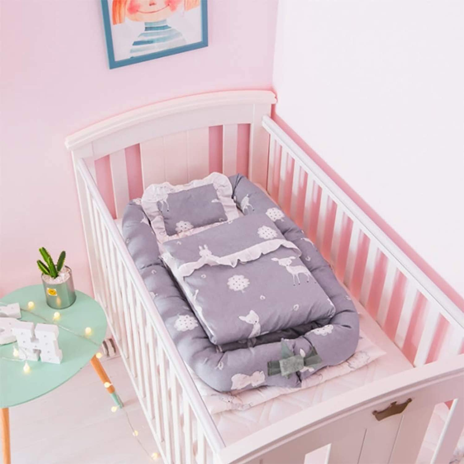 Crib Cotton Portable Washable Baby Isolation Bed Newborn Bionic Bed Baby for 0-24 Months (with Quilt),C