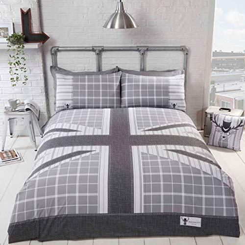 Rapport Cool Britannia Quilt Duvet Cover Bed Set, Grey, Single