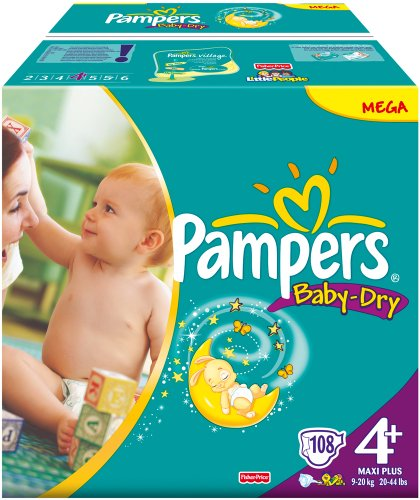 Pampers Baby Dry Gr.4+ Maxi Plus 9-20kg Megapack 1x108 Stk.