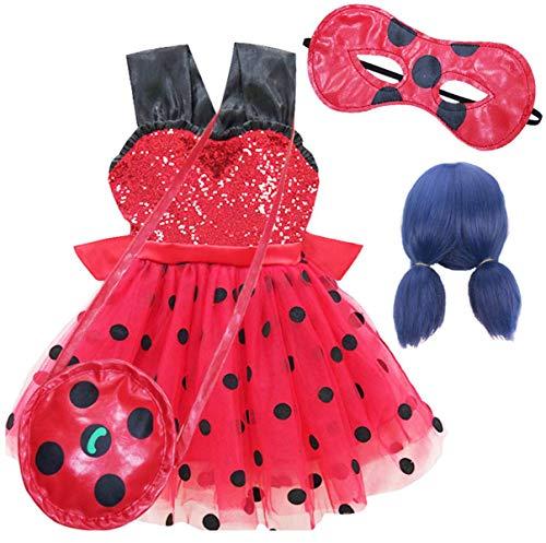 EMIN Niño de Miraculous Ladybug Costume para Niña Traje de Cosplay del Vestido de la Ropa de Partido de Halloween Carnaval Cumpleaños Lentejuelas Lunares Tutu con máscara de Ojos + Bolsa + Peluca