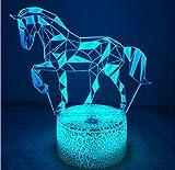 Créatif 3D Cheval Nuit Lampe Art Déco Lampe Lumières LED Décoration Lampes Touch Control 7 Couleurs Change Veilleuse USB Powered Enfants Cadeau Anniversaire Noël Cadeaux