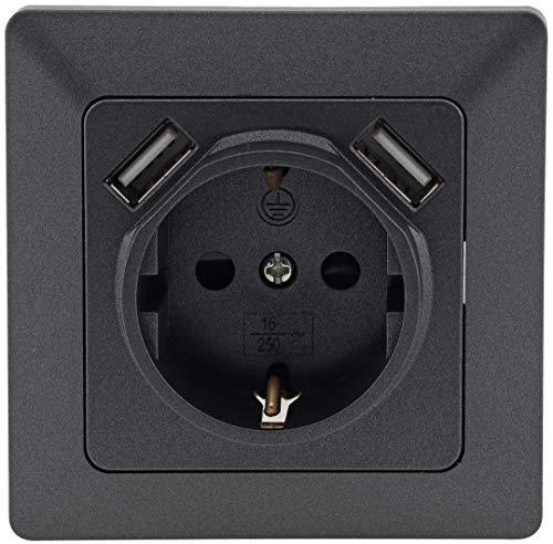 MILOS USB Steckdose Anthrazit Grau mit Kinderschutz 250V/16A Schutzkontakt-Steckdose 2x USB 5V 2,1A Klemm Anschluss