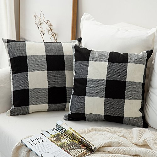MIULEE Pack of 2, Classic Retro Checkers Plaids Cotton Linen Soft Soild Decorative Square Throw Pillow Covers Home Decor Design Set Cushion Case for Sofa Bedroom Car 18 x 18 Inch 45 x 45 cm