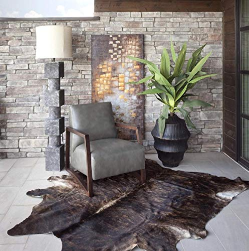 Real Cowhide Genius Leather Hair on Leather Rug by RODEO Decorative Value Size Approx 6X7 ft (Dark Brindle)