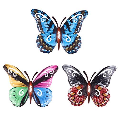 YARNOW Escultura de pared de mariposa de metal, decoración de pared, hierro artificial, azul, rojo, multicolor, colgante de pared, habitación, jardín, taller, valla, puerta, patio, fiesta, festival