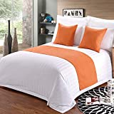 hokistudio Bed Runner Home Bedding Pure Color Simple Hotel Bed Flag Home Bedroom Bed Scarf Full/Queen/King Size (CA King: 94' 20')