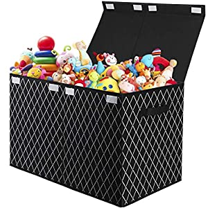 Kids Toy Box Chest Storage with Flip-Top Lid – Collapsible Sturdy Toys Boxes Organizer Bins with Handles for Nursery,Playroom,Closet Home Organization(Black)