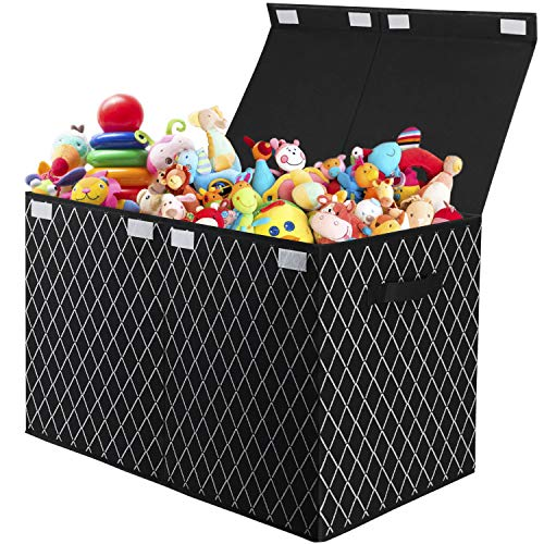 Kids Large Toy Box with Flip-Top Lid, Foldable Toy Chest Storage Cube with Handles, Fabric Storage Organiser for Nursery, Playroom, Closet, Home Organization (Black)