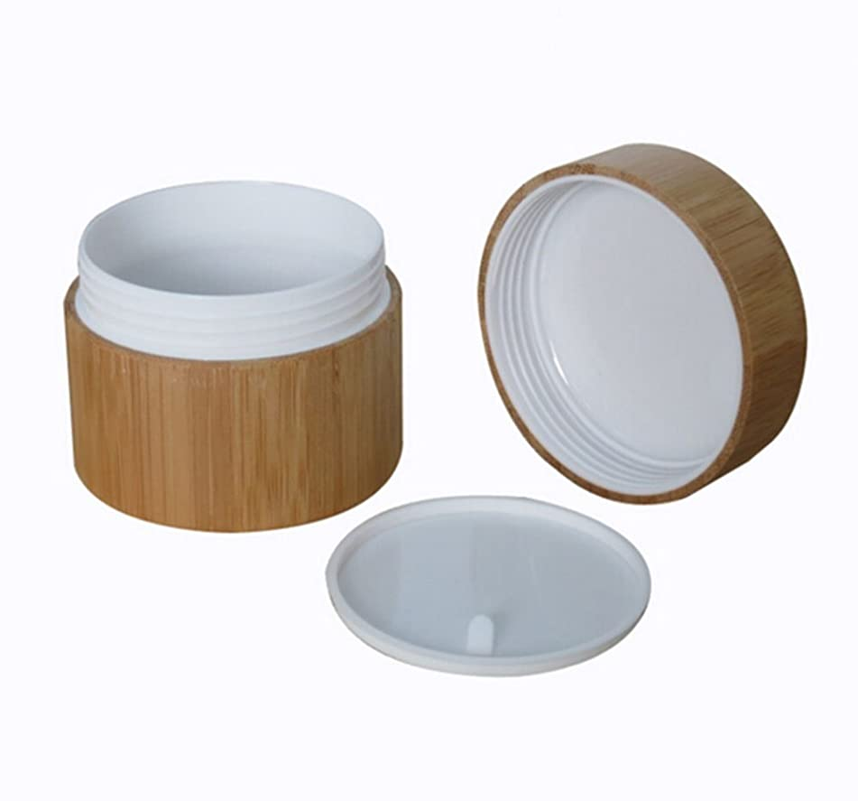 Environmental Bamboo Empty Refillable Cosmetic Cream Jar Storage Bottle Container Bottle (15ml)