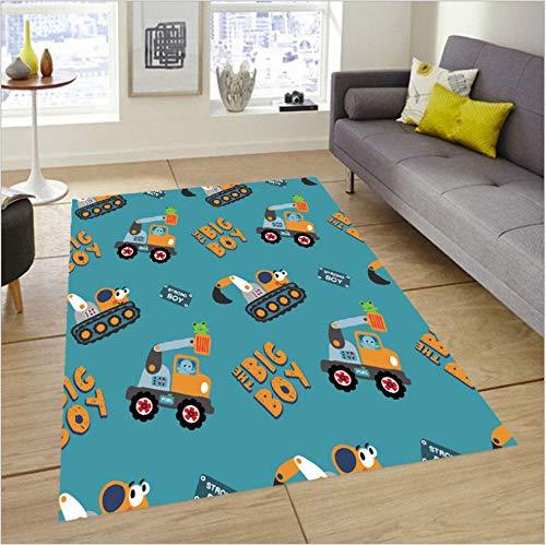 Cartoon Bagger Lkw Teppiche, Arbeitszimmer Spielzimmer Junge Baby Kleinkind Spielzeugmatte, Haltbaren Polyester Teppich Ohne Zu Verblassen 50cmx80cm
