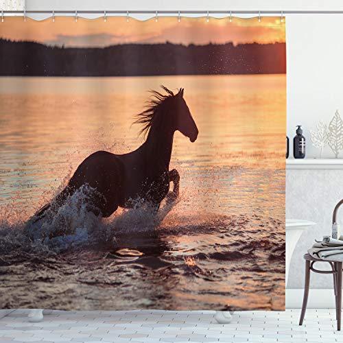 ABAKUHAUS Reiter Duschvorhang, Pferde Meer bei Sonnenuntergang, mit 12 Ringe Set Wasserdicht Stielvoll Modern Farbfest & Schimmel Resistent, 175x200 cm, Dunkelbraun Lachs