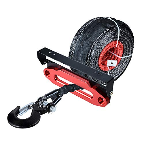 Review 92 feet x 1/2 inch Synthetic Winch Rope Cable with Black Hook and 10 inch Red Aluminum Hawse ...