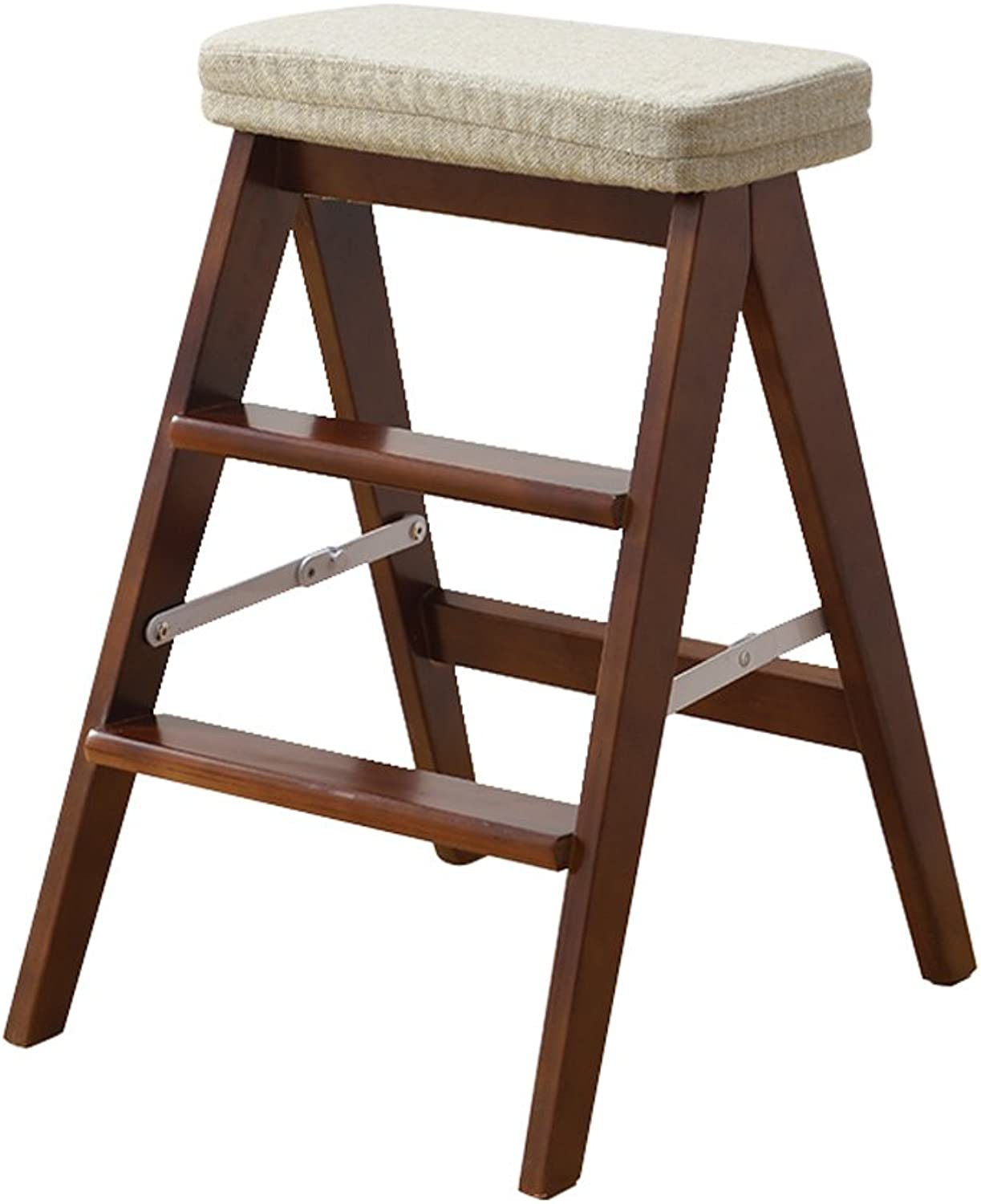 Solid Wood Folding Stool Home Ladder Stool Simple and Modern Portable Folding Stool Multifunctional Kitchen high Stool Furniture (color   H, Size   424864cm)