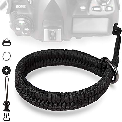 Camera Wrist Strap Designed by TAKHRWOD, Hand-Woven Elegant Universal Camera Hand Strap and Camera Wrist Bands for Male and Female Photographers Adjustable Camera Wrist Strap (Black)
