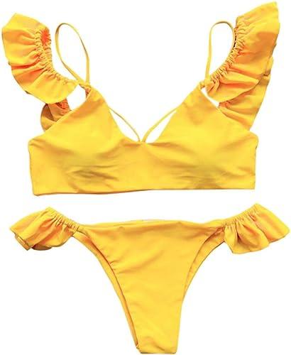 LMSHM Maillot De Bain Femme Femmes Volants Bikini Ensemble Push-Up Maillot De Bain Rembourré Maillot De Bain Baignade VêteHommests De Plage Lingerie