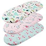 Tontukatu Bassinet Sheet Set 3 Pack Jersey Knit Ultra Soft Flexible Breathable Baby Girl Boy Fit for Halo, MiClassic, Chicco Lullago Mattress and More Flamingo Elephant Horse Lt Green Pink