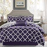 Madison Park Essentials Merritt COMFORTER (SET), Full(78'x86'), Purple/Grey